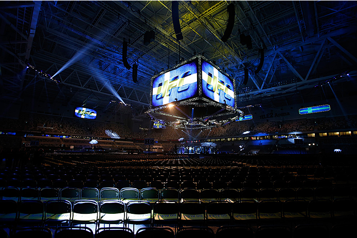 STOCKHOLM, SWEDEN - JANUARY 24:  A general view of the Octagon and arena during rehearsals before the UFC Fight Night event at the Tele2 Arena on January 24, 2015 in Stockholm, Sweden. (Photo by Josh Hedges/Zuffa LLC/Zuffa LLC via Getty Images)