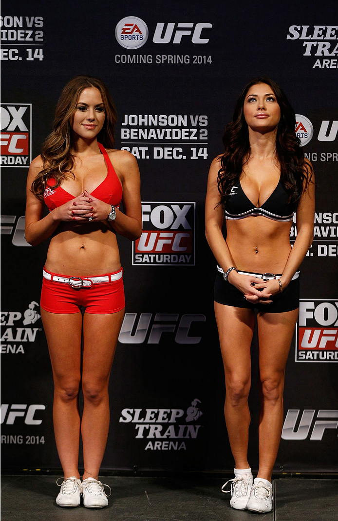 SACRAMENTO, CA - DECEMBER 13:  UFC Octagon Girls Brittney Palmer (L) and Arianny Celeste (R) stands on stage during the UFC on FOX weigh-in at Sleep Train Arena on December 13, 2013 in Sacramento, California. (Photo by Josh Hedges/Zuffa LLC/Zuffa LLC via Getty Images)