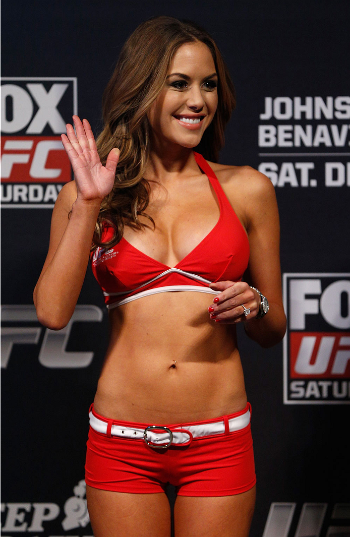 SACRAMENTO, CA - DECEMBER 13:  UFC Octagon Girl Brittney Palmer stands on stage during the UFC on FOX weigh-in at Sleep Train Arena on December 13, 2013 in Sacramento, California. (Photo by Josh Hedges/Zuffa LLC/Zuffa LLC via Getty Images)