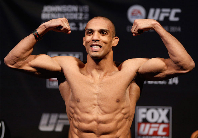 SACRAMENTO, CA - DECEMBER 13:  Edson Barboza weighs in during the UFC on FOX weigh-in at Sleep Train Arena on December 13, 2013 in Sacramento, California. (Photo by Josh Hedges/Zuffa LLC/Zuffa LLC via Getty Images)