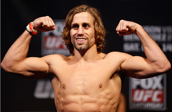 SACRAMENTO, CA - DECEMBER 13:  Urijah Faber weighs in during the UFC on FOX weigh-in at Sleep Train Arena on December 13, 2013 in Sacramento, California. (Photo by Josh Hedges/Zuffa LLC/Zuffa LLC via Getty Images)
