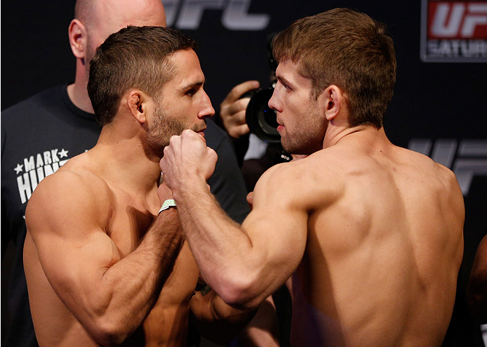 SACRAMENTO, CA - DECEMBER 13:  (L-R) Opponents Chad Mendes and Nik Lentz face off during the UFC on FOX weigh-in at Sleep Train Arena on December 13, 2013 in Sacramento, California. (Photo by Josh Hedges/Zuffa LLC/Zuffa LLC via Getty Images)