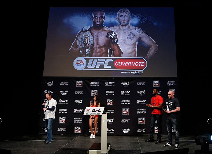 SACRAMENTO, CA - DECEMBER 13:  Alexander Gustafsson is announced as the winner of the EA Sports UFC videogame cover vote before the UFC on FOX weigh-in at Sleep Train Arena on December 13, 2013 in Sacramento, California. (Photo by Josh Hedges/Zuffa LLC/Zuffa LLC via Getty Images)