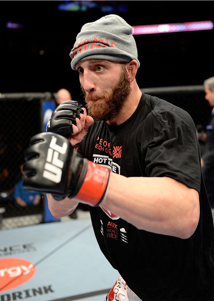 DULUTH, GA - JANUARY 15: Trevor Smith reacts after winning a split decision over Brian Houston in their middleweight fight during the UFC Fight Night event inside The Arena at Gwinnett Center on January 15, 2014 in Duluth, Georgia. (Photo by Jeff Bottari/Zuffa LLC/Zuffa LLC via Getty Images)