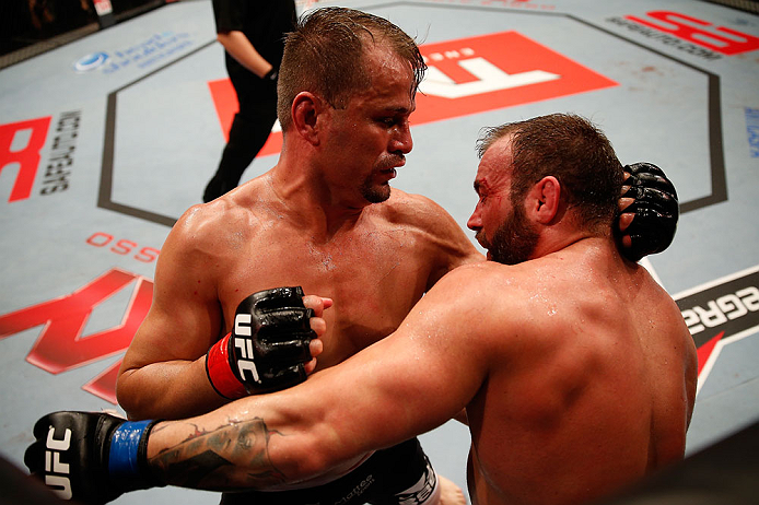 JARAGUA DO SUL, BRAZIL - MAY 18: (L-R) Fabio Maldonado punches Roger Hollett in their light heavyweight bout during the UFC on FX event on May 18, 2013 at Arena Jaragua in Jaragua do Sul, Santa Catarina, Brazil. (Photo by Josh Hedges/Zuffa LLC/Zuffa LLC via Getty Images)