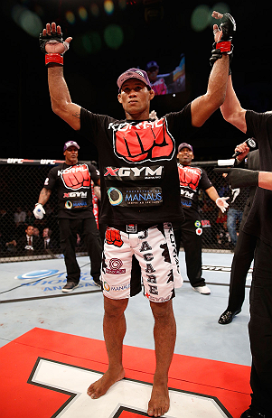JARAGUA DO SUL, BRAZIL - MAY 18:   Ronaldo 'Jacare' Souza reacts after defeating Chris Camozzi in their middleweight bout during the UFC on FX event on May 18, 2013 at Arena Jaragua in Jaragua do Sul, Santa Catarina, Brazil.  (Photo by Josh Hedges/Zuffa LLC/Zuffa LLC via Getty Images)