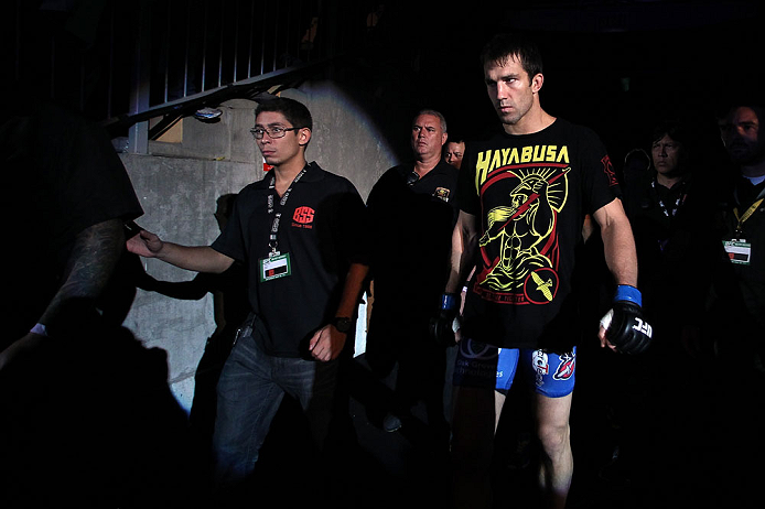 JARAGUA DO SUL, BRAZIL - MAY 18: Luke Rockhold enters the arena before his middleweight bout against Vitor Belfort during the UFC on FX event on May 18, 2013 at Arena Jaragua in Jaragua do Sul, Santa Catarina, Brazil. (Photo by Josh Hedges/Zuffa LLC/Zuffa LLC via Getty Images)