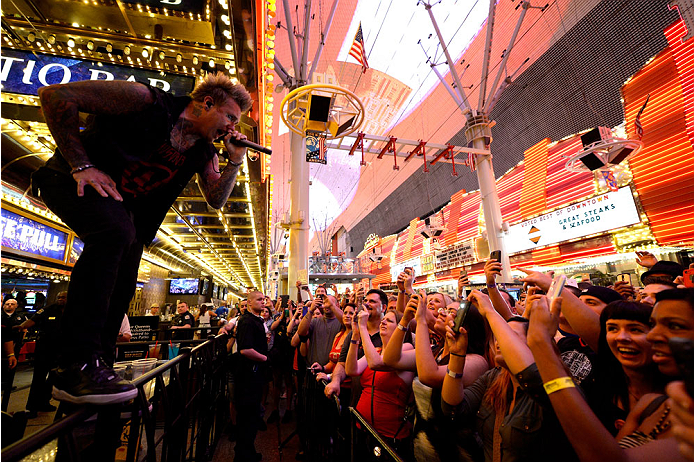 LAS VEGAS, NV - JULY 4:  Frontman Jacoby Shaddix of Papa Roach performs during UFC International Fight Week Free Concert Featuring Lit, P.O.D., and Papa Roach at the Fremont Street Experience Las Vegas on July 2, 2014 in Las Vegas, Nevada. (Photo by Brandon Magnus/Zuffa LLC/Zuffa LLC via Getty Images)