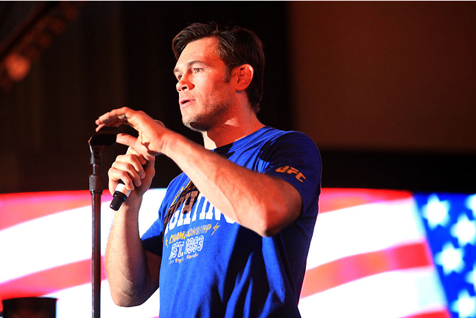 LAS VEGAS, NV - JULY 4: UFC Fighter Forrest Griffin introduces the bands before they perform during UFC International Fight Week Free Concert Featuring Lit, P.O.D., and Papa Roach at the Fremont Street Experience Las Vegas on July 4, 2014 in Las Vegas, Nevada. (Photo by Brandon Magnus/Zuffa LLC/Zuffa LLC via Getty Images)