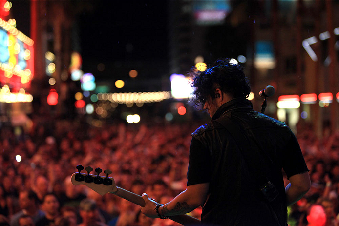 LAS VEGAS, NV - JULY 4:  Bassist Tobin Esperance of Papa Roach performs during UFC International Fight Week Free Concert Featuring Lit, P.O.D., and Papa Roach at the Fremont Street Experience Las Vegas on July 2, 2014 in Las Vegas, Nevada. (Photo by Brandon Magnus/Zuffa LLC/Zuffa LLC via Getty Images)