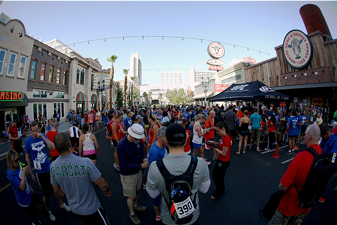 LAS VEGAS, NV - JULY 4:  Participates prepare to run in the first annual Ulti-man 5K run during UFC International Fight Week at Hogs and Heifers on July 4, 2014 in Las Vegas, Nevada. Proceeds will help support Three Square Food Bank. (Photo by Brandon Magnus/Zuffa LLC/Zuffa LLC via Getty Images)