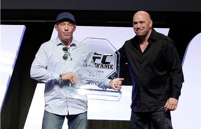 LAS VEGAS, NV - JULY 6: Pat Miletich and UFC President Dana White pose for photos after Miletich was inducted into the UFC Hall of Fame at the UFC Fan Expo 2014 during UFC International Fight Week at the Mandalay Bay Convention Center on July 6, 2014 in Las Vegas, Nevada. (Photo by Isaac Brekken/Zuffa LLC/Zuffa LLC via Getty Images)