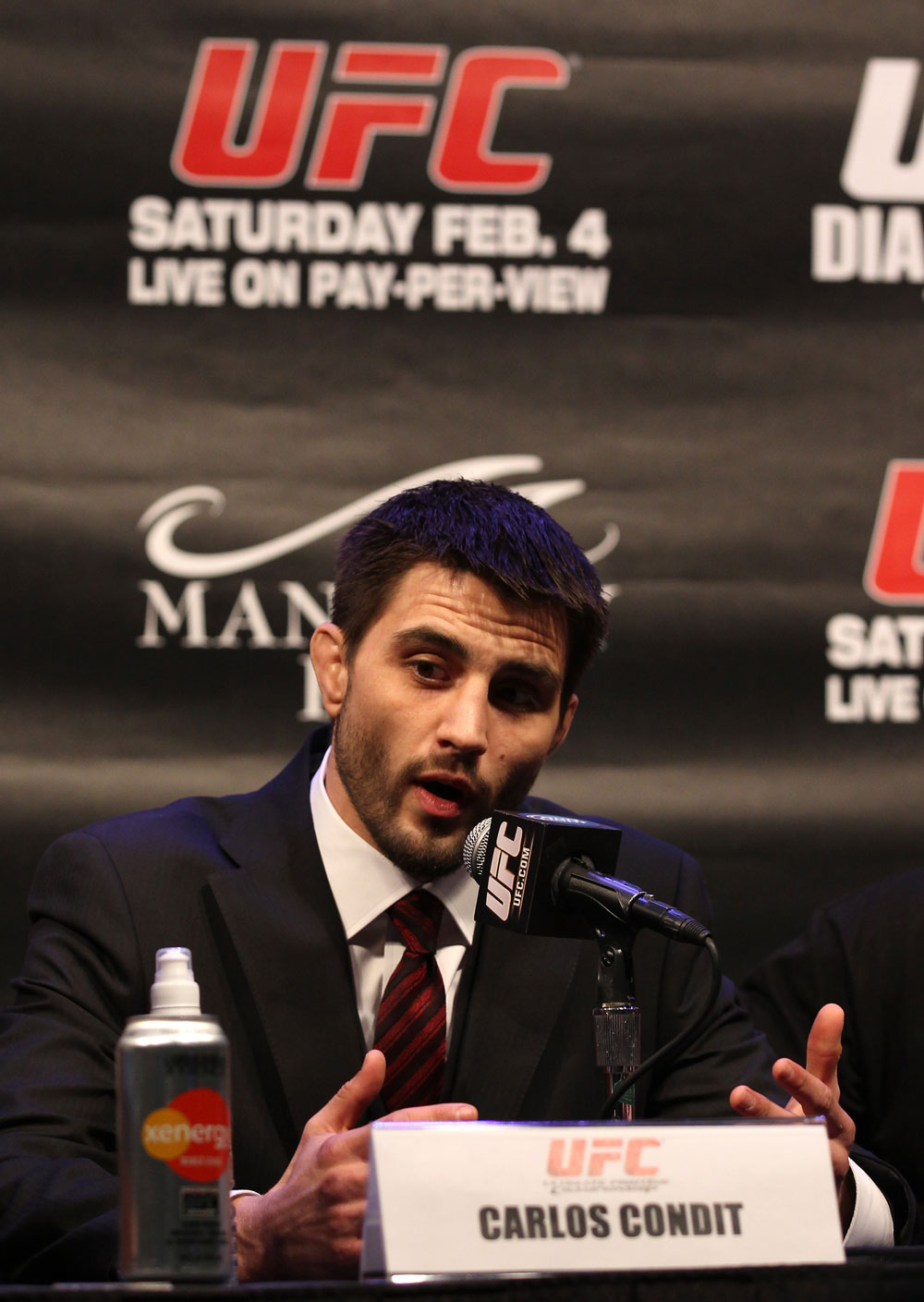 LAS VEGAS, NV - FEBRUARY 02:  Carlos Condit attends the UFC 143 final pre-fight press conference at the Mandalay Bay Hotel & Casino on February 2, 2012 in Las Vegas, United States.  (Photo by Josh Hedges/Zuffa LLC/Zuffa LLC via Getty Images) *** Local Caption *** Carlos Condit