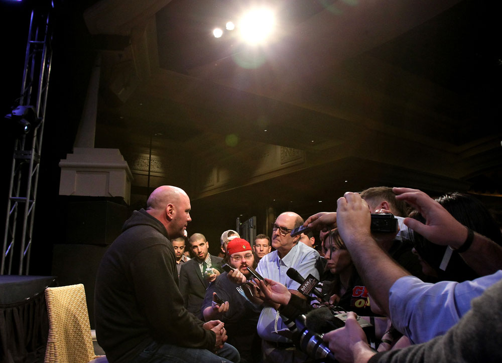 LAS VEGAS, NV - FEBRUARY 02:  UFC President Dana White attends the UFC 143 final pre-fight press conference at the Mandalay Bay Hotel & Casino on February 2, 2012 in Las Vegas, United States.  (Photo by Josh Hedges/Zuffa LLC/Zuffa LLC via Getty Images) *** Local Caption *** Dana White