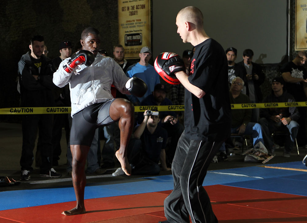 NASHVILLE, TN - JANUARY 18:  Melvin Guillard works out for the media during the UFC on FX open workouts at the Nashville MMA Gym on January 18, 2012 in Nashville, Tennessee.  (Photo by Josh Hedges/Zuffa LLC/Zuffa LLC via Getty Images)