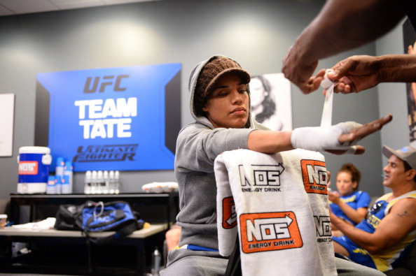 LAS VEGAS, NV - JUNE 6:  Julianna Pena gets her hands wrapped before her preliminary fight against Shayna Baszler (not pictured) during filming of season eighteen of The Ultimate Fighter on June 6, 2013 in Las Vegas, Nevada. (Photo by Al Powers/Zuffa LLC/Zuffa LLC via Getty Images)