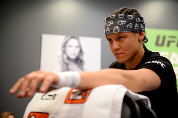 LAS VEGAS, NV - JUNE 6:  Shayna Baszler gets her hands wrapped before her preliminary fight against Julianna Pena (not pictured) during filming of season eighteen of The Ultimate Fighter on June 6, 2013 in Las Vegas, Nevada. (Photo by Al Powers/Zuffa LLC/Zuffa LLC via Getty Images)
