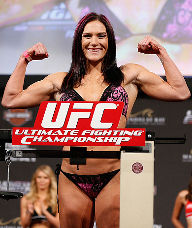 LAS VEGAS, NV - APRIL 12: Cat Zingano weighs in during the TUF 17 Finale weigh-in at the Hollywood Theatre at the MGM Grand Hotel/Casino on April 12, 2013 in Las Vegas, Nevada. (Photo by Josh Hedges/Zuffa LLC/Zuffa LLC via Getty Images)
