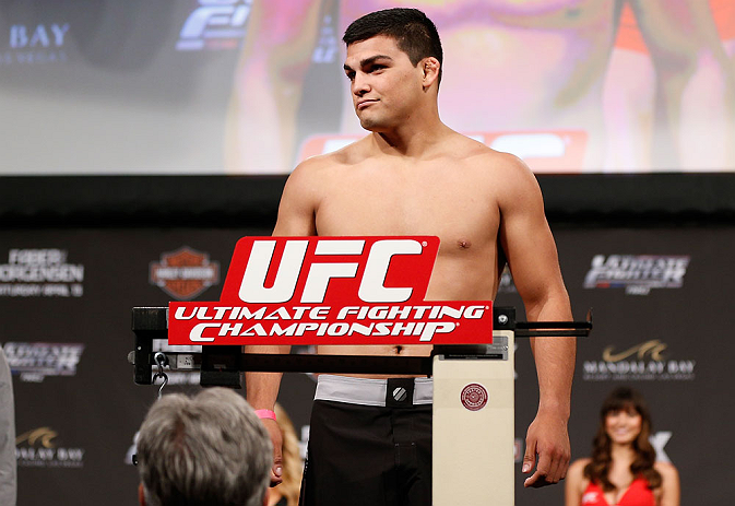 LAS VEGAS, NV - APRIL 12: Kelvin Gastelum weighs in during the TUF 17 Finale weigh-in at the Hollywood Theatre at the MGM Grand Hotel/Casino on April 12, 2013 in Las Vegas, Nevada. (Photo by Josh Hedges/Zuffa LLC/Zuffa LLC via Getty Images)