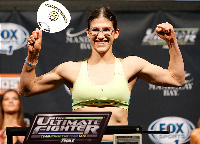 LAS VEGAS, NV - NOVEMBER 29:  Roxanne Modafferi weighs in during the weigh-in for The Ultimate Fighter season 18 live finale inside the Mandalay Bay Events Center on November 29, 2013 in Las Vegas, Nevada. (Photo by Josh Hedges/Zuffa LLC/Zuffa LLC via Getty Images)