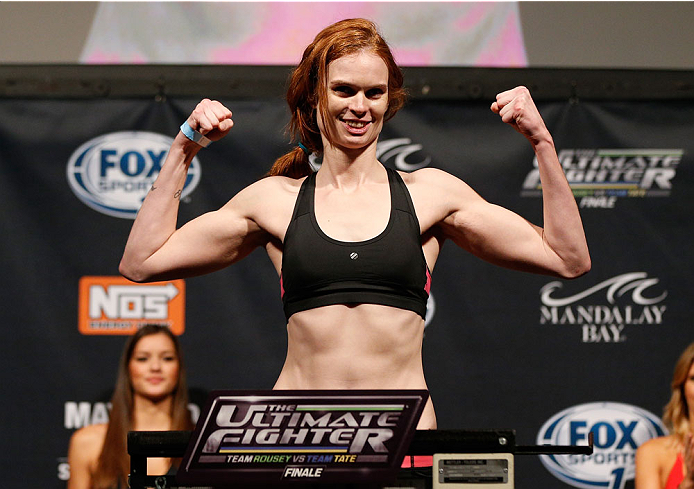 LAS VEGAS, NV - NOVEMBER 29:  Peggy Morgan weighs in during the weigh-in for The Ultimate Fighter season 18 live finale inside the Mandalay Bay Events Center on November 29, 2013 in Las Vegas, Nevada. (Photo by Josh Hedges/Zuffa LLC/Zuffa LLC via Getty Images)