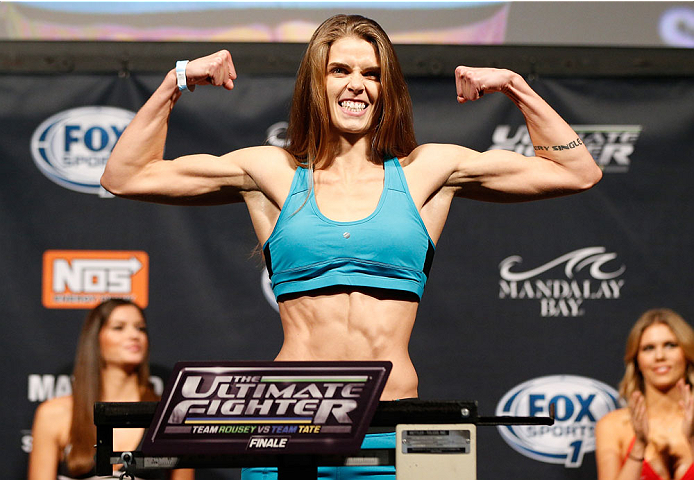 LAS VEGAS, NV - NOVEMBER 29:  Jessamyn Duke weighs in during the weigh-in for The Ultimate Fighter season 18 live finale inside the Mandalay Bay Events Center on November 29, 2013 in Las Vegas, Nevada. (Photo by Josh Hedges/Zuffa LLC/Zuffa LLC via Getty Images)