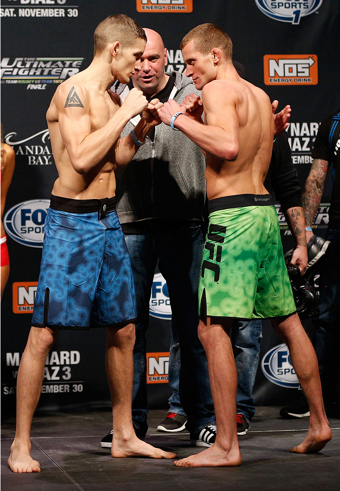 "LAS VEGAS, NV - NOVEMBER 29:  (L-R) Opponents Chris Holdsworth and David ""Davey"" Grant face off during the weigh-in for The Ultimate Fighter season 18 live finale inside the Mandalay Bay Events Center on November 29, 2013 in Las Vegas, Nevada. (Photo by Josh Hedges/Zuffa LLC/Zuffa LLC via Getty Images)"