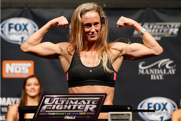 LAS VEGAS, NV - NOVEMBER 29:  Jessica Rakoczy weighs in during the weigh-in for The Ultimate Fighter season 18 live finale inside the Mandalay Bay Events Center on November 29, 2013 in Las Vegas, Nevada. (Photo by Josh Hedges/Zuffa LLC/Zuffa LLC via Getty Images)