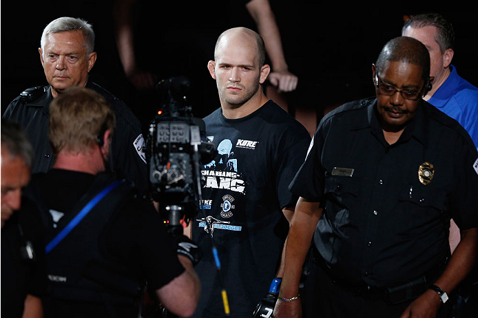LAS VEGAS, NV - JULY 06:  Keith Berish enters the Octagon in his light heavyweight fight during the The Ultimate Fighter Finale inside the Mandalay Bay Events Center on July 6, 2014 in Las Vegas, Nevada.  (Photo by Josh Hedges/Zuffa LLC/Zuffa LLC via Getty Images)