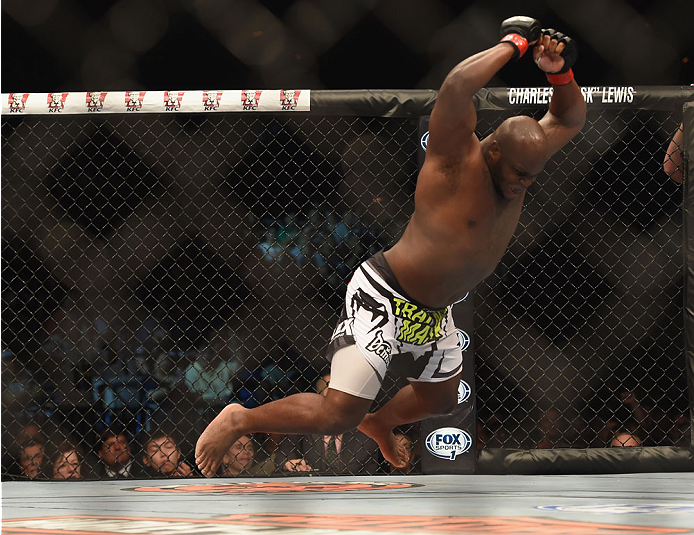 LAS VEGAS, NV - JULY 06:  Derrick Lewis celebrates after defeating Guto Inocente in their middleweight fight during the Ultimate Fighter Finale inside the Mandalay Bay Events Center on July 6, 2014 in Las Vegas, Nevada.  (Photo by Jeff Bottari/Zuffa LLC/Zuffa LLC via Getty Images)