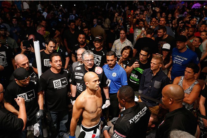 LAS VEGAS, NV - JULY 06:  BJ Penn stands on the UFC prep point before his featherweight fight with Frankie Edgar during the Ultimate Fighter Finale inside the Mandalay Bay Events Center on July 6, 2014 in Las Vegas, Nevada.  (Photo by Josh Hedges/Zuffa LLC/Zuffa LLC via Getty Images)