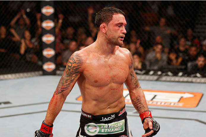 LAS VEGAS, NV - JULY 06:  Frankie Edgar reacts after his featherweight fight with BJ Penn during the Ultimate Fighter Finale inside the Mandalay Bay Events Center on July 6, 2014 in Las Vegas, Nevada.  (Photo by Josh Hedges/Zuffa LLC/Zuffa LLC via Getty Images)