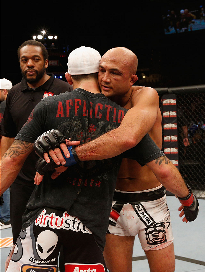 LAS VEGAS, NV - JULY 06:  (R-L) BJ Penn congratulates Frankie Edgar after their featherweight fight during the Ultimate Fighter Finale inside the Mandalay Bay Events Center on July 6, 2014 in Las Vegas, Nevada.  (Photo by Josh Hedges/Zuffa LLC/Zuffa LLC via Getty Images)