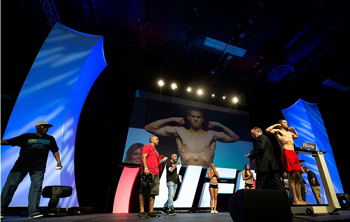 LAS VEGAS, NV - JULY 5: Matt Van Buren weighs in during the TUF 19 Finale weigh-in inside the Mandalay Bay Convention Center on July 5, 2014 in Las Vegas, Nevada.(Photo by Brandon Magnus/Zuffa LLC/Zuffa LLC via Getty Images)