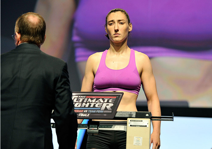 LAS VEGAS, NV - JULY 05: Mixed martial artist Alexis Dufresne poses on the scale during the TUF 19 Finale weigh-in at the Mandalay Bay Convention Center on July 5, 2014 in Las Vegas, Nevada. (Photo by David Becker/Zuffa LLC/Zuffa LLC via Getty Images)