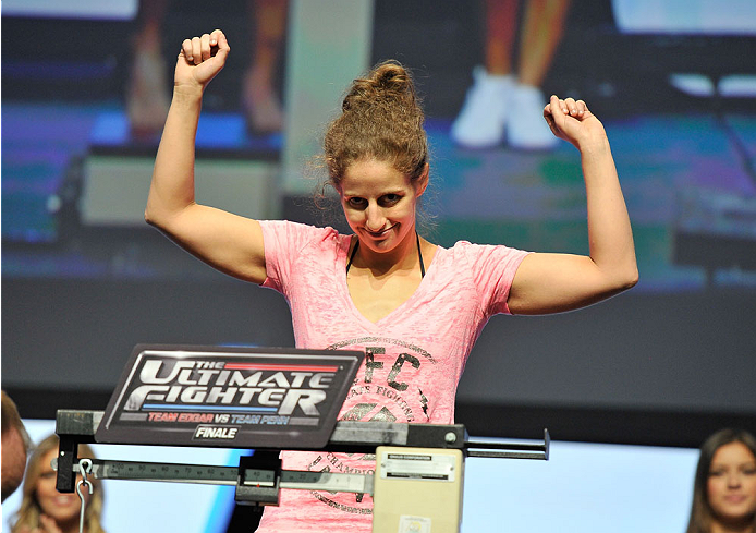LAS VEGAS, NV - JULY 05: Mixed martial artist Sarah Moras poses on the scale during the TUF 19 Finale weigh-in at the Mandalay Bay Convention Center on July 5, 2014 in Las Vegas, Nevada. (Photo by David Becker/Zuffa LLC/Zuffa LLC via Getty Images)