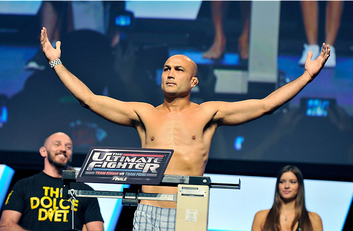 LAS VEGAS, NV - JULY 05:  Mixed martial artist BJ Penn poses on the scale during the TUF 19 Finale weigh-in at the Mandalay Bay Convention Center on July 5, 2014 in Las Vegas, Nevada.  (Photo by David Becker/Zuffa LLC/Zuffa LLC via Getty Images)
