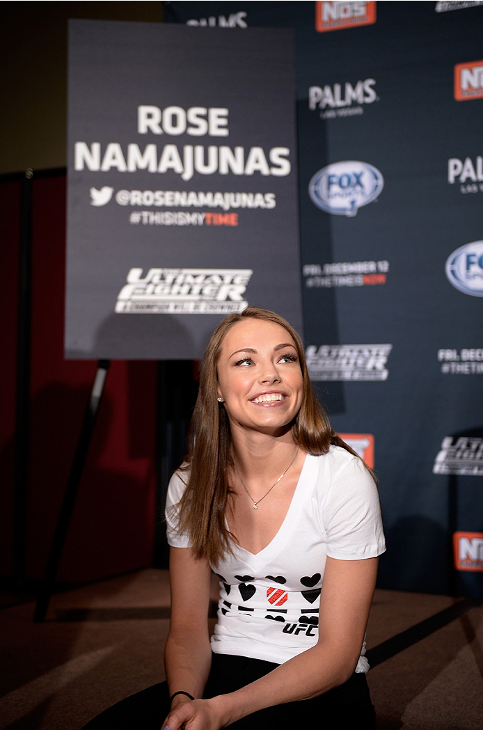 LAS VEGAS, NEVADA - DECEMBER 10:  Rose Namajunas speaks with the media during The Ultimate Fighter Finale Ultimate Media Day at the Palms Casino Resort on December 10, 2014 in Las Vegas, Nevada. (Photo by Brandon Magnus/Zuffa LLC/Zuffa LLC via Getty Images)