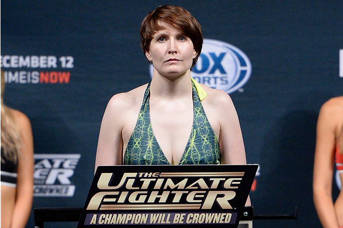 LAS VEGAS, NEVADA - DECEMBER 11:  UFC strawweight Aisling Daly steps on the scale during The Ultimate Fighter Finale weigh-ins at the Palms Casino Resort on December 11, 2014 in Las Vegas, Nevada. (Photo by Jeff Bottari/Zuffa LLC/Zuffa LLC via Getty Images)