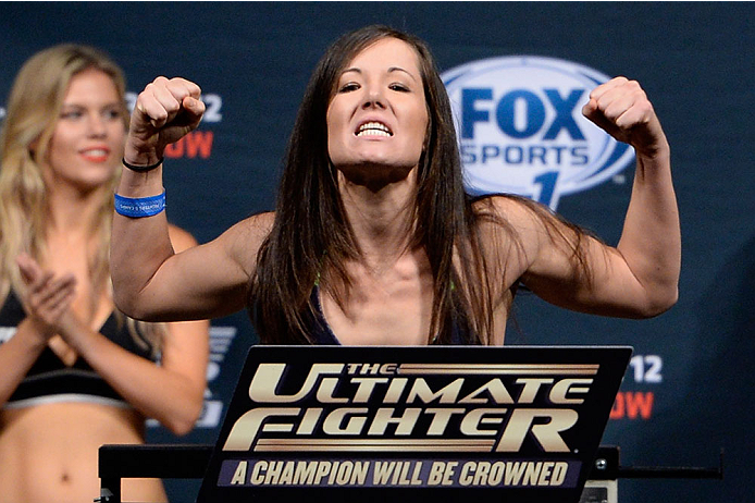 LAS VEGAS, NEVADA - DECEMBER 11:  UFC strawweight Angela Magana steps on the scale during The Ultimate Fighter Finale weigh-ins at the Palms Casino Resort on December 11, 2014 in Las Vegas, Nevada. (Photo by Jeff Bottari/Zuffa LLC/Zuffa LLC via Getty Images)