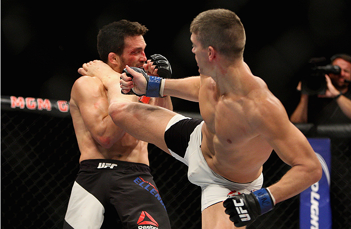 <a href='../fighter/Stephen-Thompson'>Stephen Thompson</a> kicks <a href='../fighter/Jake-Ellenberger'>Jake Ellenberger</a> in their welterweight bout during <a href='../event/The-Ultimate-Fighter-T-Rampage-vs-T-Forrest-Finale'><a href='../event/The-Ultimate-Fighter-Finale-Team-Nog-vs-Team-Mir'><a href='../event/The-Ultimate-Fighter-Team-Liddell-vs-Team-Ortiz-FINALE'><a href='../event/TUF13-finale'><a href='../event/the-ultimate-fighter-a-champion-will-be-crowned'>the Ultimate Fighter Finale.</a></a></a></a></a> (Photo by Mitch Viquez/Zuffa LLC)