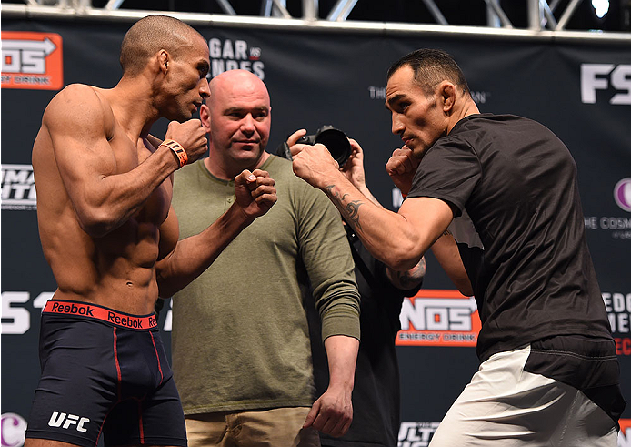 LAS VEGAS, NV - DECEMBER 10:  (L-R) Opponents Edson Barboza of Brazil and Tony Ferguson face off during the UFC weigh-in inside MGM Grand Garden Arena on December 10, 2015 in Las Vegas, Nevada.  (Photo by Josh Hedges/Zuffa LLC/Zuffa LLC via Getty Images)