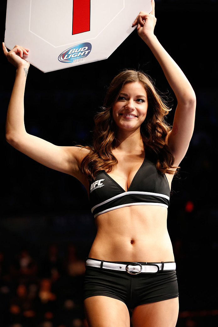 QUEBEC CITY, CANADA - APRIL 16:  UFC Octagon Girl Vanessa Hanson introduces a round during the TUF Nations Finale at Colisee Pepsi on April 16, 2014 in Quebec City, Quebec, Canada. (Photo by Josh Hedges/Zuffa LLC/Zuffa LLC via Getty Images)