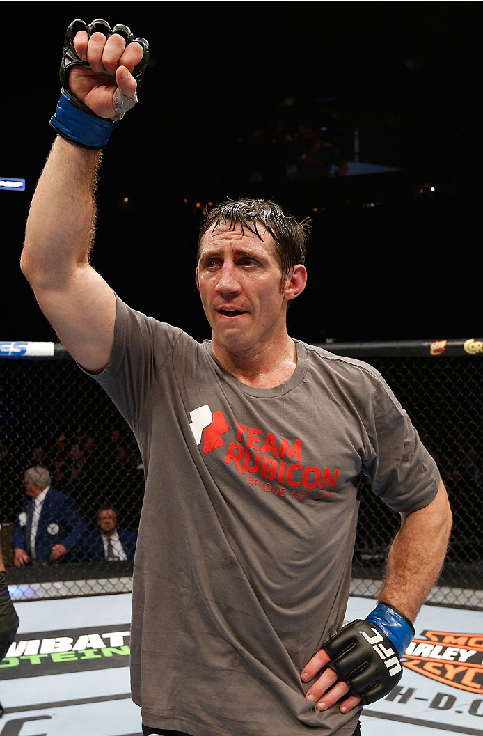 QUEBEC CITY, CANADA - APRIL 16:  Tim Kennedy reacts after his decision victory over Michael Bisping in their middleweight fight during the TUF Nations Finale at Colisee Pepsi on April 16, 2014 in Quebec City, Quebec, Canada. (Photo by Josh Hedges/Zuffa LLC/Zuffa LLC via Getty Images)