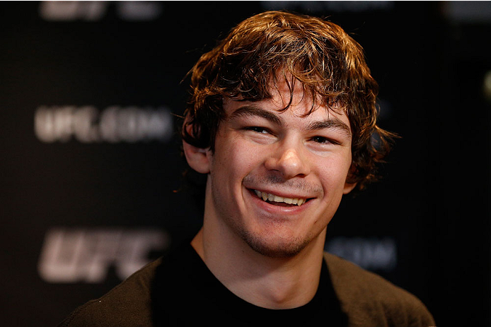 QUEBEC CITY, CANADA - APRIL 14:  Olivier Aubin-Mercier interacts with media during the UFC Ultimate Media Day at the TRYP Quebec Hotel on April 14, 2014 in Quebec City, Quebec, Canada. (Photo by Josh Hedges/Zuffa LLC/Zuffa LLC via Getty Images)