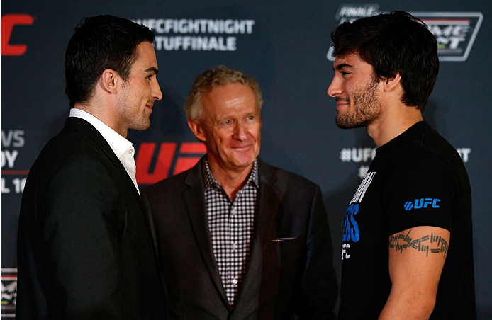 QUEBEC CITY, CANADA - APRIL 14:  (L-R) Opponents Sheldon Wescott and Elias Theodorou face off during the UFC Ultimate Media Day at the TRYP Quebec Hotel on April 14, 2014 in Quebec City, Quebec, Canada. (Photo by Josh Hedges/Zuffa LLC/Zuffa LLC via Getty Images)