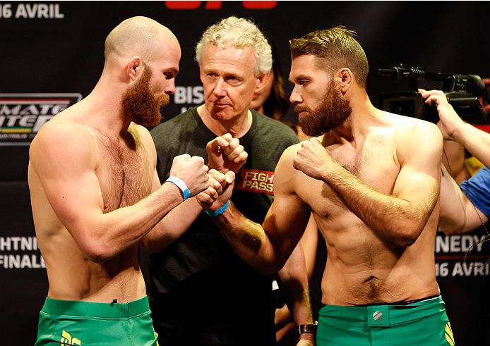 QUEBEC CITY, CANADA - APRIL 15:  (L-R) Opponents Richard Walsh and Chris Indich face off during the TUF Nations Finale weigh-in at Colisee Pepsi on April 15, 2014 in Quebec City, Quebec, Canada. (Photo by Josh Hedges/Zuffa LLC/Zuffa LLC via Getty Images)