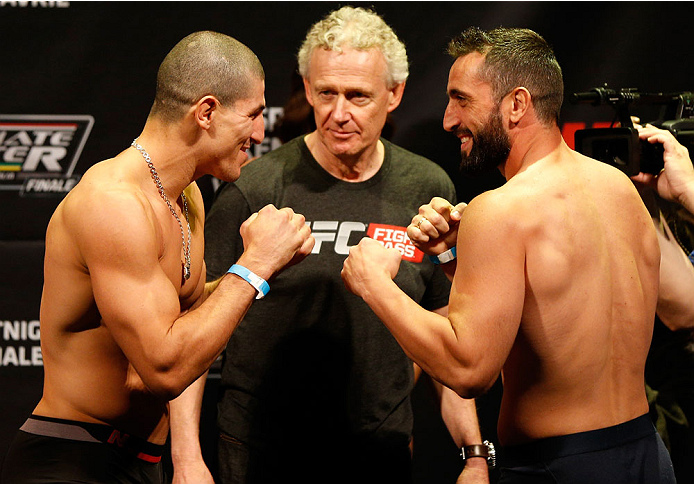 QUEBEC CITY, CANADA - APRIL 15:  (L-R) Opponents Nordine Taleb and Vik Grujic face off during the TUF Nations Finale weigh-in at Colisee Pepsi on April 15, 2014 in Quebec City, Quebec, Canada. (Photo by Josh Hedges/Zuffa LLC/Zuffa LLC via Getty Images)
