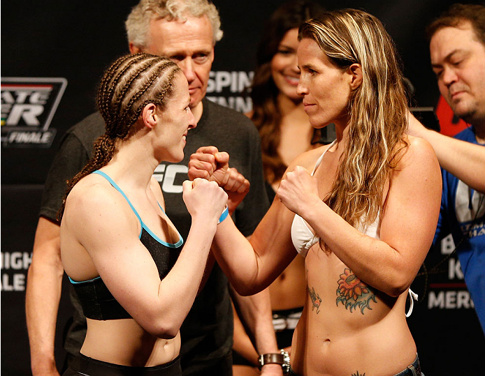 QUEBEC CITY, CANADA - APRIL 15:  (L-R) Opponents Sarah Kaufman and Leslie Smith face off during the TUF Nations Finale weigh-in at Colisee Pepsi on April 15, 2014 in Quebec City, Quebec, Canada. (Photo by Josh Hedges/Zuffa LLC/Zuffa LLC via Getty Images)