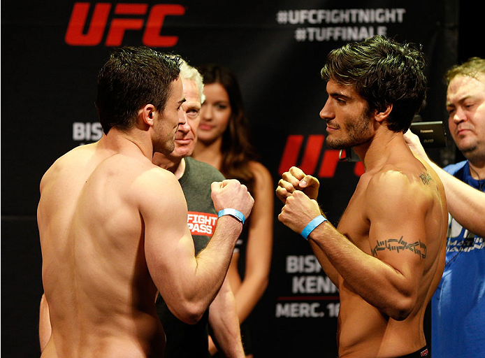 QUEBEC CITY, CANADA - APRIL 15:  (L-R) Opponents Sheldon Wescott and Elias Theodorou face off during the TUF Nations Finale weigh-in at Colisee Pepsi on April 15, 2014 in Quebec City, Quebec, Canada. (Photo by Josh Hedges/Zuffa LLC/Zuffa LLC via Getty Images)